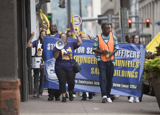 Security officers in Pittsburgh are negotiating with 14 companies for a new contract. (32BJ SEIU)