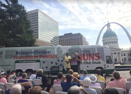 The Nuns on the Bus at a 2015 event in St. Louis. This year, they'll be back on Oct. 17. (Nuns on the Bus/Facebook)