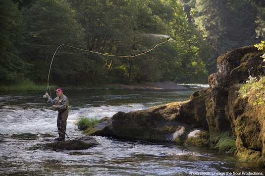 Frank Moore, a World War II veteran, is one of the biggest advocates for protections of the North Umpqua watershed, world-renowned for its fly-fishing opportunities. (Uncage The Soul Productions)