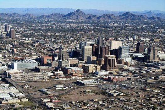 "Climate scientists and elected officials are looking for way to reduce the ""heat island"" effect that makes Phoenix swelter during the summer months. (Wikipedia)"