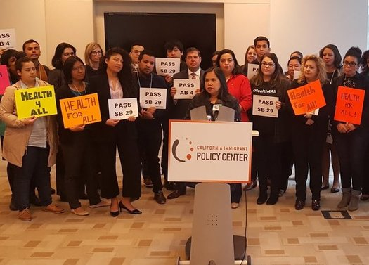 Supporters of Medi-Cal for undocumented immigrant adults gathered at a rally at the California Endowment in Los Angeles on Wednesday. (California Immigrant Policy Center)