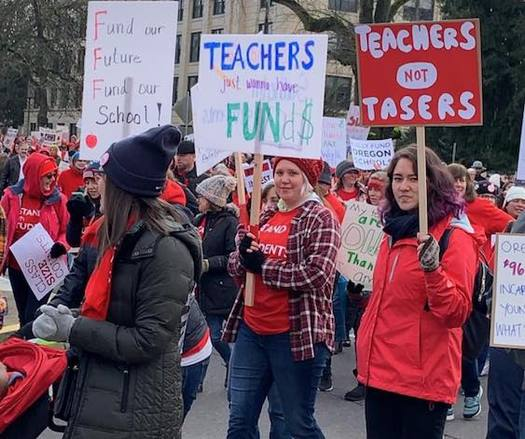 The national #RedforEd movement came to Salem on President's Day with the March for Our Students. (Oregon Education Association)