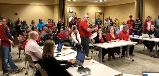 More than 70 educators were at a Redmond School Board meeting when members passed a resolution urging more education funding. (Redmond Education Association)
