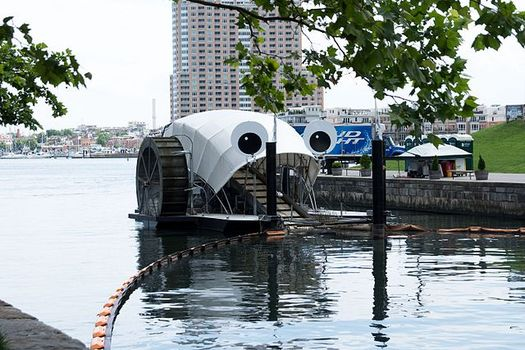 "Baltimore Waterfront Partnership's Healthy Harbor Initiative has collected more than 1 million Styrofoam containers since its first ""trash wheel"" launched in 2014. (Matthew Bellemare/Creative Commons)"