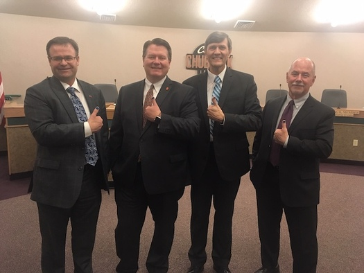 The mayors of Pocatello, Blackfoot and Chubbuck, and the president of Idaho State University raise awareness for child abuse prevention. (Shannon Fox/Idaho Children's Trust Fund)
