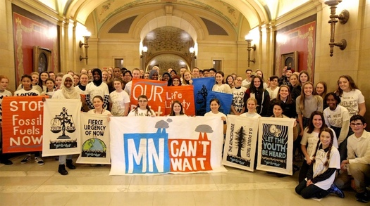 Minnesota youths met with Gov. Tim Walz on Wednesday to discuss climate issues and the need for immediate action after helping introduce statewide Green New Deal legislation. (courtesy Devon Cupery)