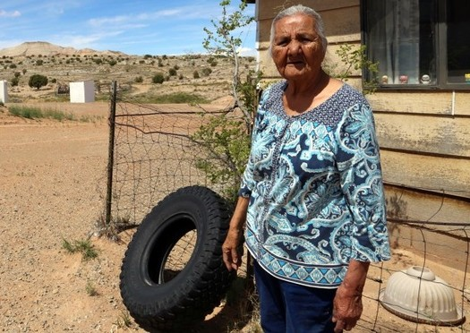 Fannie Shorthair stands in front of her house in the Navajo Nation, which has been without electric power for her entire life. (Salt River Project)