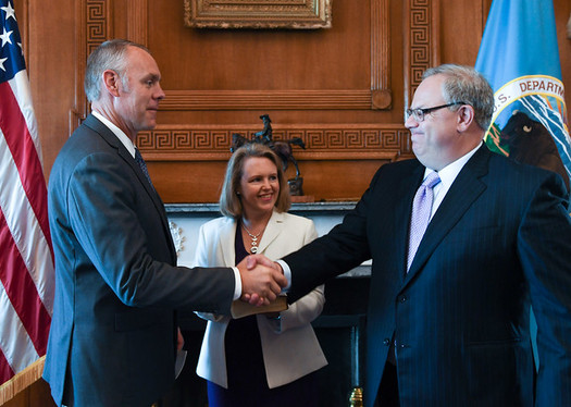 David Bernhardt, right, replaced former U.S. Rep. Ryan Zinke, R-Mont., left, as head of the Interior Department last month. (U.S. Dept. of the Interior/Flickr)