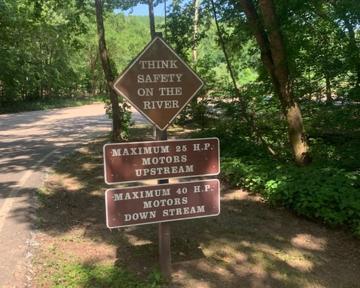 The sign, above, in the Ozark National Scenic Riverways should, but doesn't yet, mark the place where a motorized boat prohibition begins. (Marisa Frazier/Sierra Club Missouri Chapter)