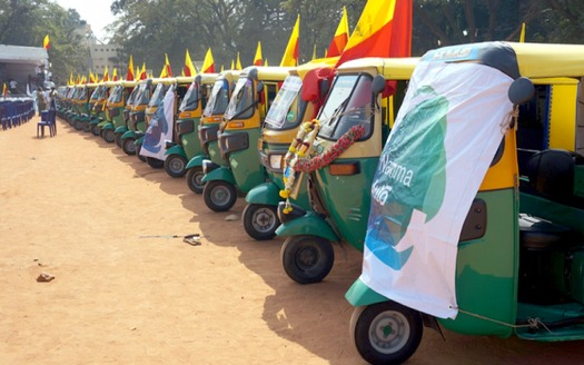"Three Wheels United has won a climate action prize for ""using finance and technology to decarbonize the auto rickshaw market"" in India. (Three Wheels United)"