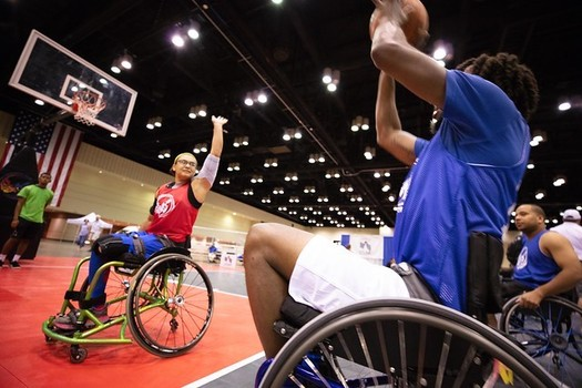Basketball is one of almost 20 sports in which athletes can compete at the National Veterans Wheelchair Games. (National Veterans Wheelchair Games)