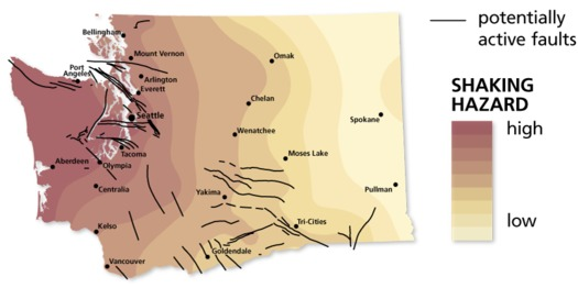 The darker shades on the map represent the highest shaking hazard and the black lines represent potentially active faults in Washington. (Washington state Department of Natural Resources)