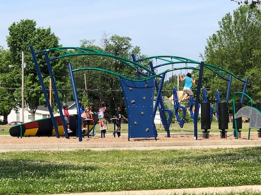 A new health park in Paducah includes a playground, community garden and walking track. (Mark Thompson)