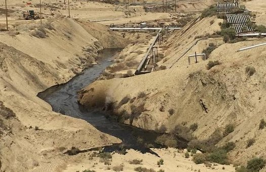 The cause of an oil leak in Kern County, shown here in May when it first started, has yet to be determined. (California Dept. of Fish and Wildlife, Office of Spill Prevention and Response)
