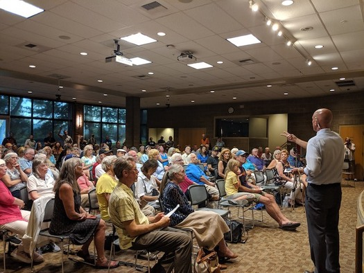 The Idaho Speaks town-hall tour came to Coeur d'Alene on July 30, packing the meeting hall. (Reclaim Idaho)