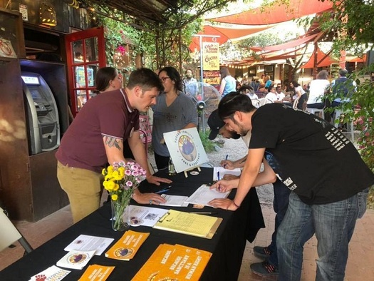 "Immigration advocates gathered more than 18,000 signatures to put an initiative on the November ballot to make Tucson a ""sanctuary city."" (People's Defense Initiative)"