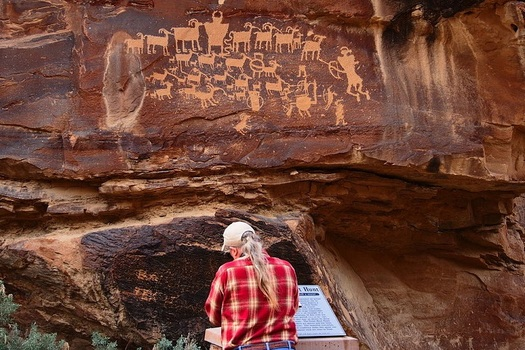 """Ancient petroglyphs line more than 40 miles of rock wall faces along southern Utah's Nine Mile Canyon, which has been called the """"world�s longest art gallery."""" (WikimediaCommons)"""