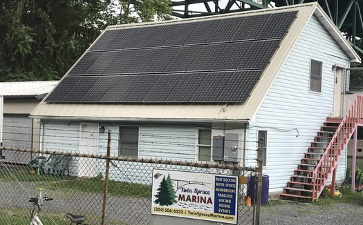 Falling solar-panel prices have made renewable energy increasingly reasonable for businesses such as the Twin Spruce Marina in Morgantown. (Twin Spruce Marina)