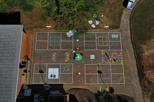An aerial view of the new outdoor play space at Combs Elementary in Wake County, N.C. (Will Saunders/Old North Creative)