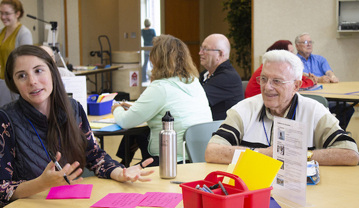 A rural climate dialogue took place in Redwood County, Minn., where wind energy development could soon be coming. (Annie Pottorff/Jefferson Center)