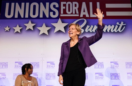 Sen. Elizabeth Warren, D-Mass., speaks at a presidential forum hosted by the Service Employees International Union. (Facebook)