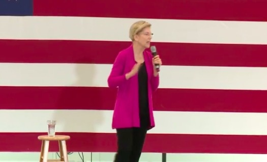 Sen. Elizabeth Warren speaking at a UNH town hall Wednesday. (NEWS CENTER Maine/Facebook)