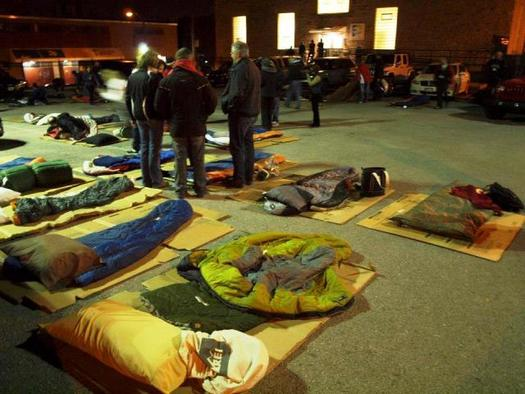 Missouri business leaders are helping to raise awareness about youth homelessness by sleeping outside. (Covenant House Missouri)