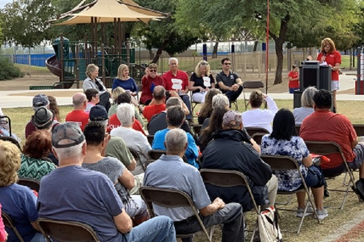 More than 150 Arizonans attended the dedication of AARP Arizona's new fitness park at the Rose Mofford Sports Complex in north Phoenix. (AARP Arizona)
