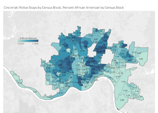 Cincinnati Police Stops by Census Block, Percent African American by Census Black. (Lucia Walinchus)