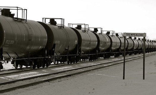State regulators say 16% of oil produced in North Dakota in October was shipped out by rail. (Roy Luck/Flickr)