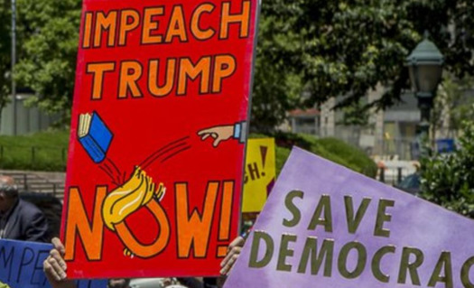 Protesters have been calling for impeachment at rallies once a month in front of Rep. Mark Amodei's office in Carson City. (Chip Evans/Indivisible Northern Nevada)