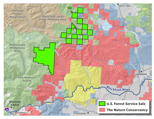 The Nature Conservancy is selling a checkerboard of land parcels to the U.S. Forest Service. (The Nature Conservancy)