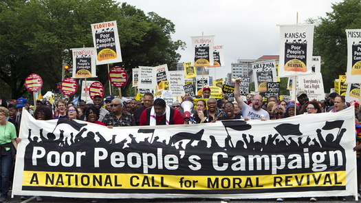 The Rev. William Barber of the Poor People's Campaign leads a rally in Washington in June 2019. (Poor People's Campaign)