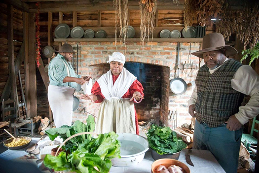 Left to right, Dontavius Williams, Nicole Moore, and Terry James, historical reenactors at Lexington County Museum in Lexington, South Carolina. Photo from Slave Dwelling Project. (Joe McGill)