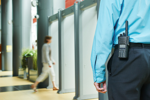 Trained security guards protect hundreds of landmarks, colleges, public and private buildings throughout New York City. (Kadmy)