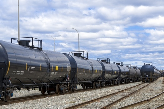 Opponents of a plan to allow liquified natural gas to be transported on rail tank cars say it's too dangerous for communities near the tracks. (Adobe Stock)