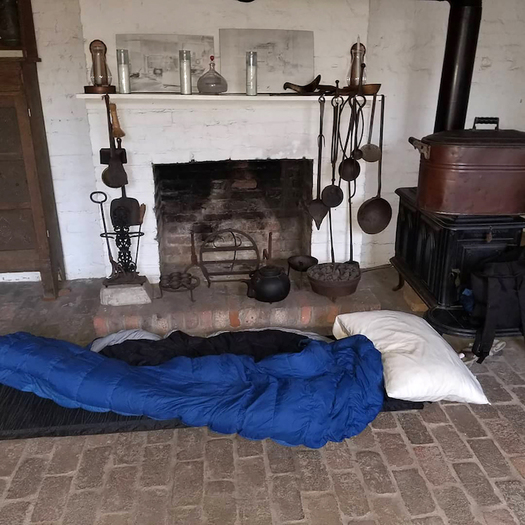Sleeping bag set up at Old Alabama Town, a historical village in Montgomery, Alabama. (Joe McGill)
