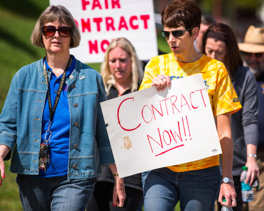 It is currently illegal in Maine for public employees to strike, including teachers, but labor leaders in the state want to change that. (weaverphoto/Creative Commons)