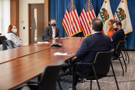 Gov. Gavin Newsom met Friday with legislative leaders to work on the budget. (Clarissa Resultan/CA Dept. of Corrections and Rehabilitation)