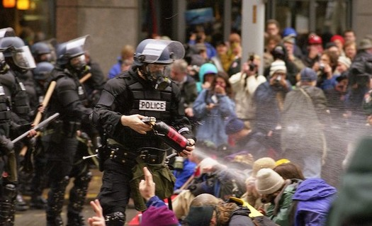 The Seattle demonstrations against the World Trade Organization in 1999 are seen as turning point in how police handle protests. (Steve Kaiser/Flickr)