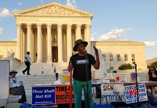 Death-penalty opponents hold a protest in front of the Supreme Court in July 2019. (Death Penalty Action)