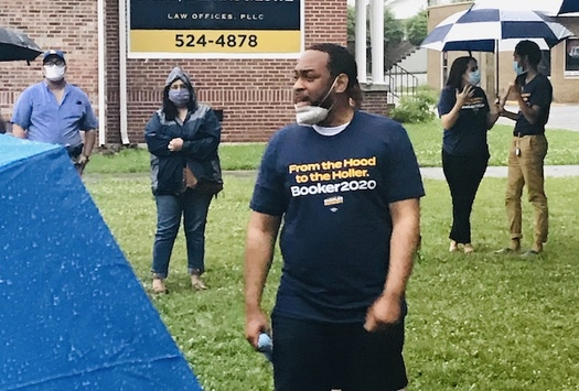 Rep. Charles Booker speaks to residents of Corbin, Ky., on Saturday. (Travis Kitchens)