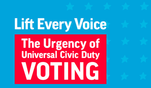 "The new Harvard Kennedy School and Brookings Institution report, ""Lift Every Voice: The Urgency of Universal Civic Duty Voting,"" argues that voting as a civic responsibility is no less important than jury duty. (Brookings/Harvard)"