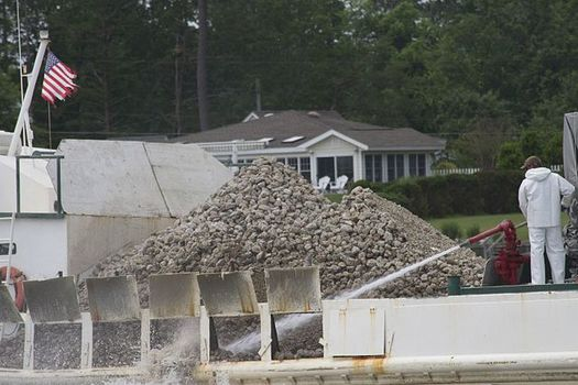 Tons of crushed concrete will be deposited in the Lynnhaven River near Virginia Beach to restore oyster reefs. (Wikimedia Commons)