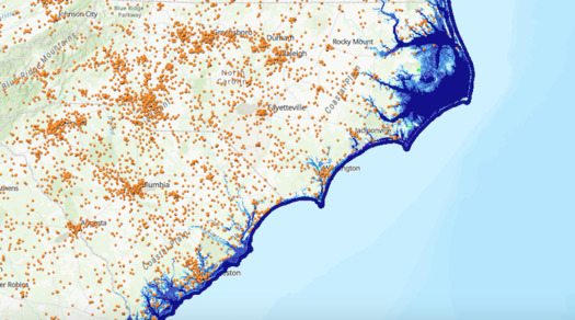 GIS map of coastal North Carolina churches. (Creation Justice Ministries)