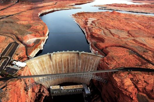 Water from the upper basin of the Colorado River is stored in 186-mile-long Lake Powell along the Utah-Arizona border. (shuvro ghose/Adobe Stock)