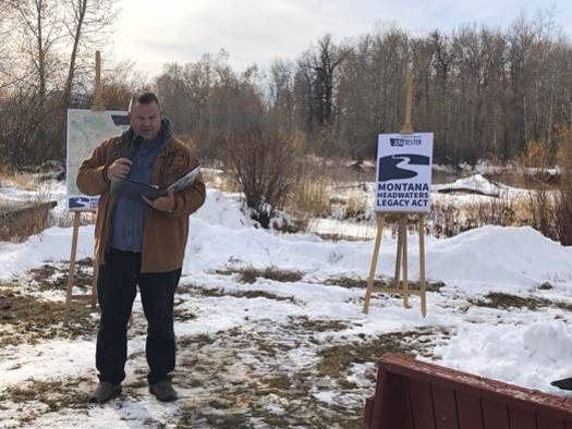 Sen. Jon Tester, D-Mont., announced the Montana Headwaters Legacy Act along the banks of the Gallatin River. (Office of Sen. Tester)