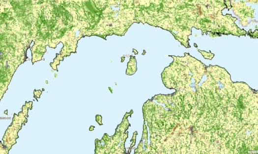 Resilient landscapes in Michigan appear as bright green on a new mapping tool. (The Nature Conservancy)