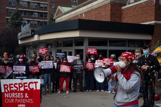 Nurses at Montefiore Hospital in New Rochelle delivered a 10-day notice of their intent to strike to hospital management. (New York State Nurses Association)