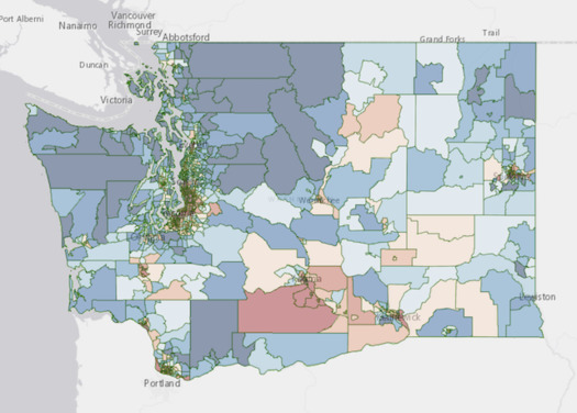 The Washington Environmental Health Disparity Map identifies communities highly impacted by environmental justice issues. (Washington State Department of Health)